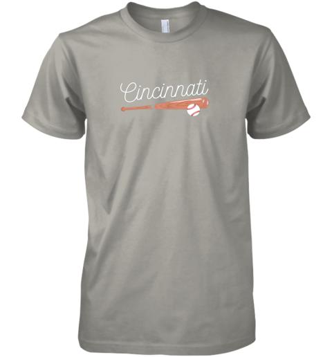 ujsh cincinnati baseball tshirt classic ball and bat design premium guys tee 5 front light grey