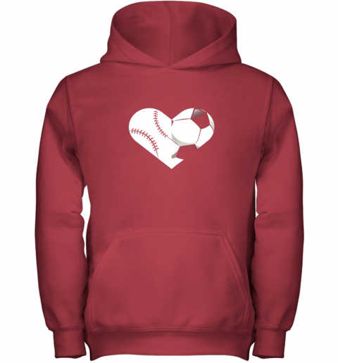 4to9 soccer baseball heart sports tee baseball soccer youth hoodie 43 front red