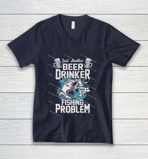 Beer Lover Funny Shirt Fishing ANd Beer V-Neck T-Shirt 2