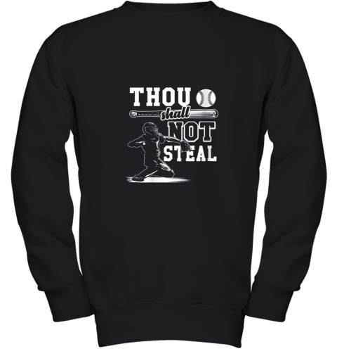 evqh funny baseball thou shall not steal baseball player youth sweatshirt 47 front black