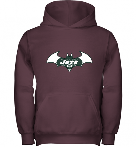 9ugy we are the new york jets batman nfl mashup youth hoodie 43 front maroon