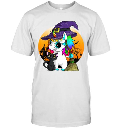 Unicorn Witch Halloween Black Cat Orange Moon Graphic T-Shirt