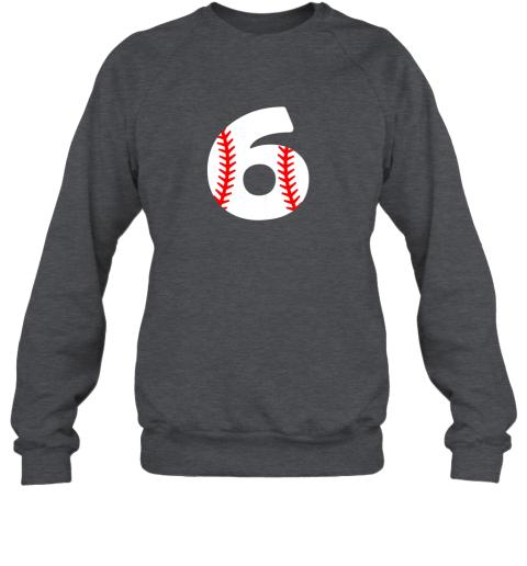 ryhv sixth birthday 6th baseball shirtnumber 6 born in 2013 sweatshirt 35 front dark heather