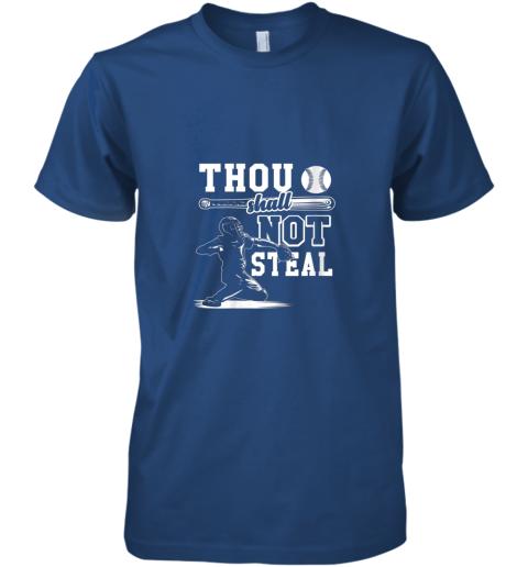 qjda funny baseball thou shall not steal baseball player premium guys tee 5 front royal
