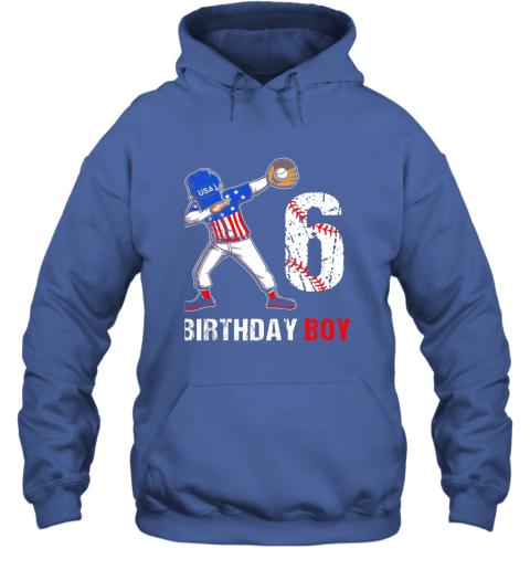 j82m kids 6 years old 6th birthday baseball dabbing shirt gift party hoodie 23 front royal