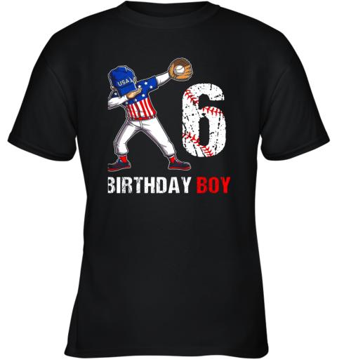 Kids 6 Years Old 6th Birthday Baseball Dabbing Shirt Gift Party Youth T-Shirt