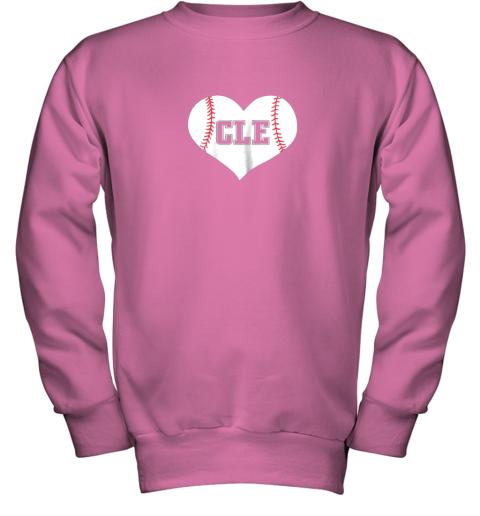 9iz4 cleveland ohio baseball love heart cle gift jersey fan youth sweatshirt 47 front safety pink
