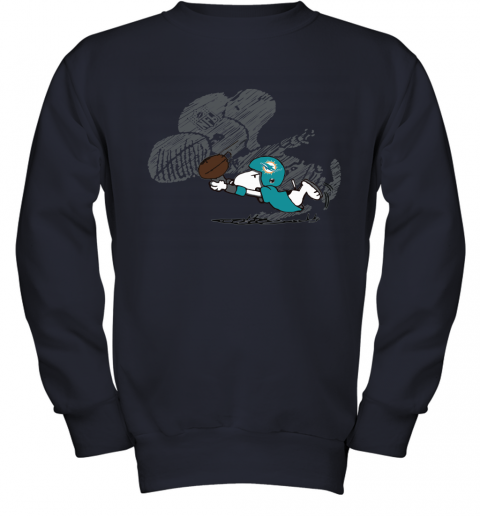 Miami Dolphins Snoopy Plays The Football Game Youth Sweatshirt