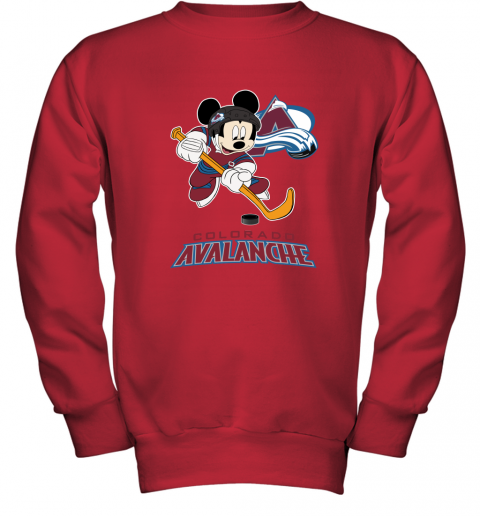 89z8 nhl hockey mickey mouse team colorado avanlanche youth sweatshirt 47 front red