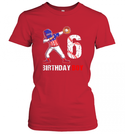mhnr kids 6 years old 6th birthday baseball dabbing shirt gift party ladies t shirt 20 front red