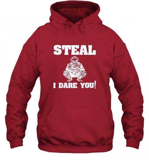 txuw kids baseball catcher gift funny youth shirt steal i dare you33 hoodie 23 front red