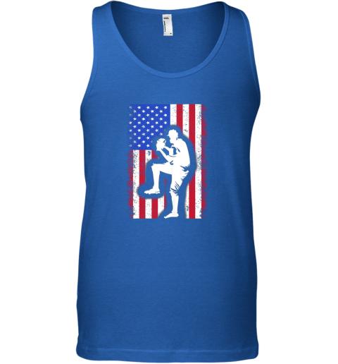 q0fl vintage usa american flag baseball player team gift unisex tank 17 front royal