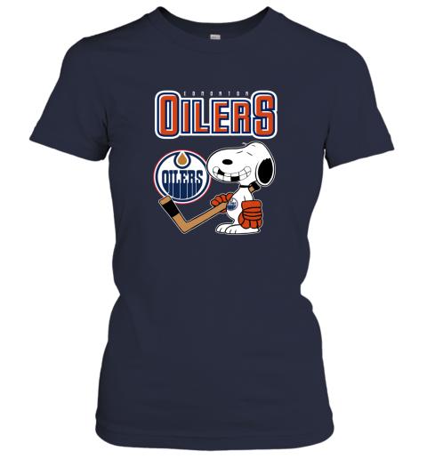 mutj edmonton oilers ice hockey broken teeth snoopy nhl shirt ladies t shirt 20 front navy