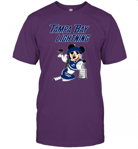 rcnl mickey tampa bay lightning with the stanley cup hockey nhl jersey t shirt 60 front team purple