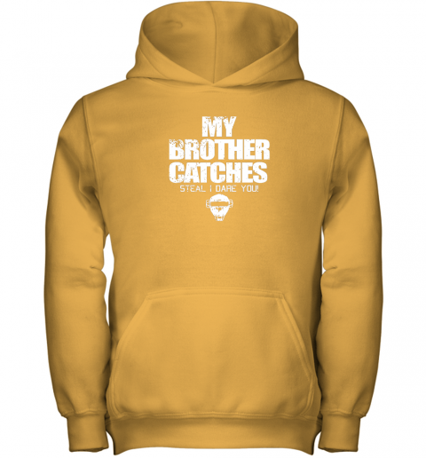 tjjj cool baseball catcher funny shirt cute gift brother sister youth hoodie 43 front gold