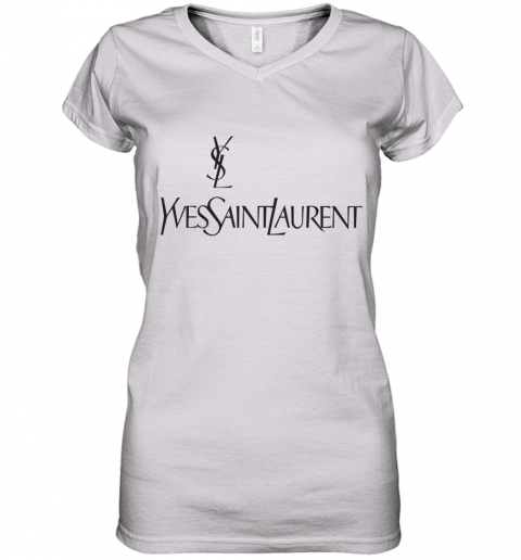 Ysl Yves Saint Laurent Logo Women's V-Neck T-Shirt