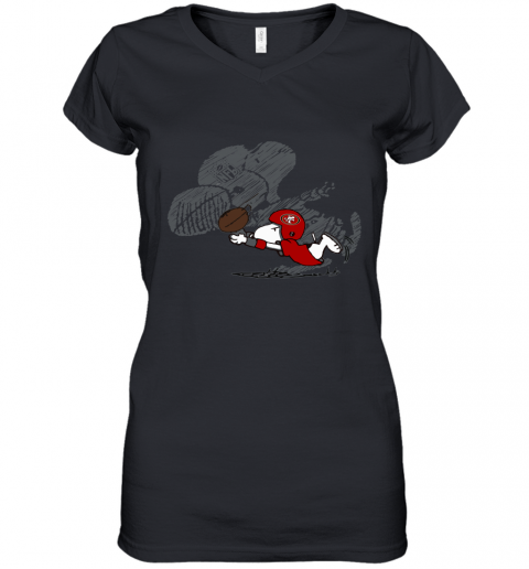 San Fracisco 49ers Snoopy Plays The Football Game Women's V-Neck T-Shirt