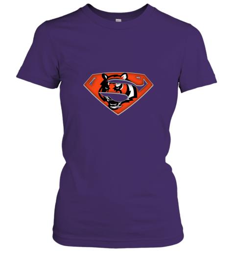7mnr we are undefeatable the cincinnati bengals x superman nfl ladies t shirt 20 front purple