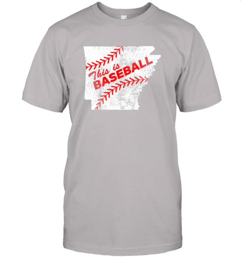 ks3o this is baseball arkansas with red laces jersey t shirt 60 front ash