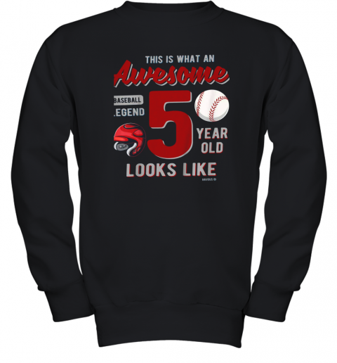 Kids 5th Birthday Gift Awesome 5 Year Old Baseball Legend Youth Sweatshirt