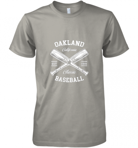 w20e oakland baseball classic vintage california retro fans gift premium guys tee 5 front light grey