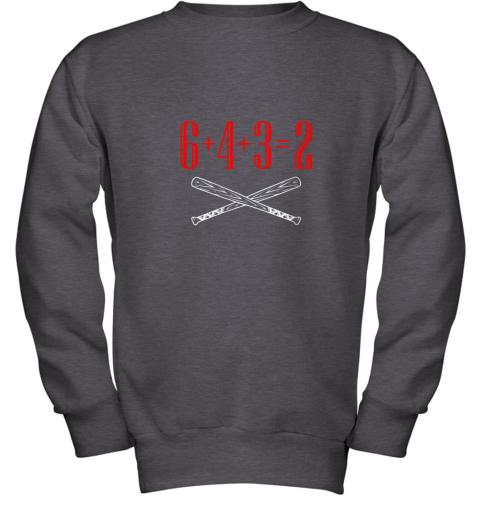 spb4 funny baseball math 6 plus 4 plus 3 equals 2 double play youth sweatshirt 47 front dark heather