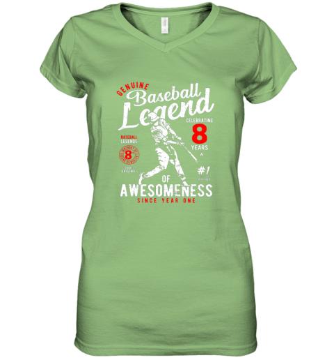 ulvx kids 8th birthday gift baseball legend 8 years women v neck t shirt 39 front lime