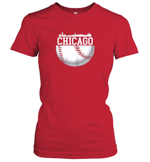 xbxy vintage downtown chicago shirt baseball retro illinois state ladies t shirt 20 front red