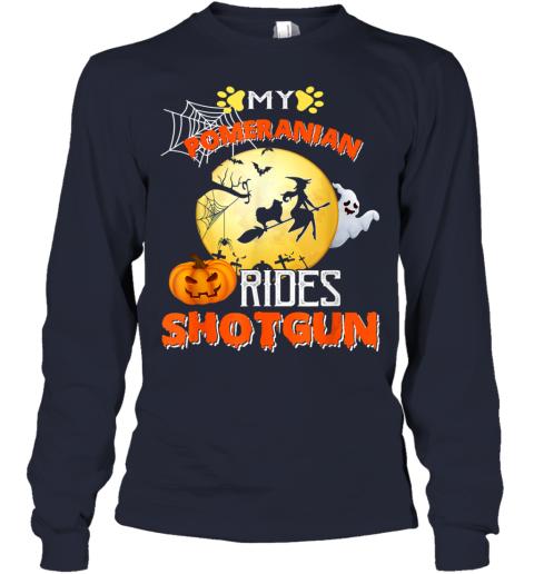 My Pomeranian Rides Shotgun Halloween Dog Gift Youth Long Sleeve