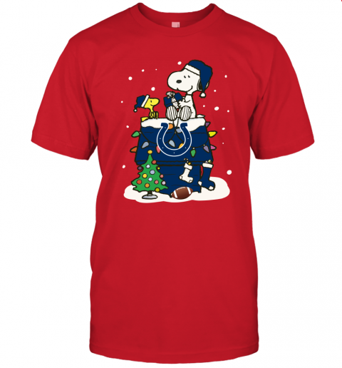 A Happy Christmas With Indianapolis Colts Snoopy Unisex Jersey Tee