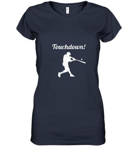 plpp touchdown funny baseball women v neck t shirt 39 front navy