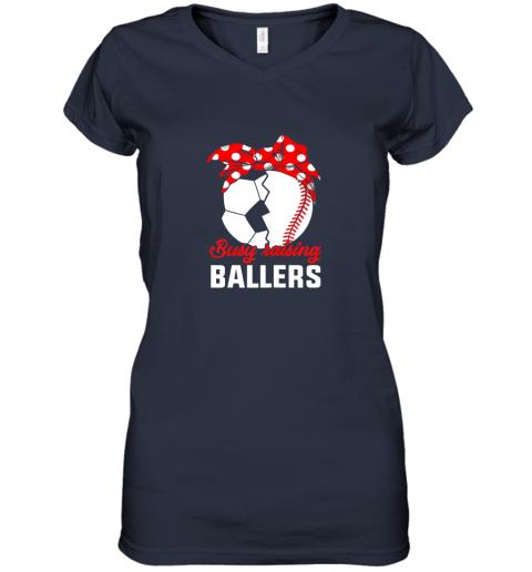 uln5 busy raising a ballerfunny baseball soccer mom women v neck t shirt 39 front navy