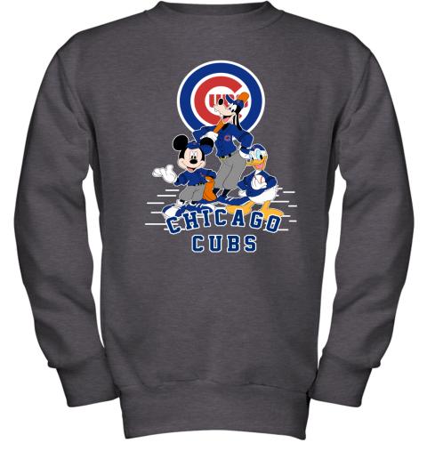 Chicago Cubs Mickey Donald And Goofy Baseball Youth Sweatshirt