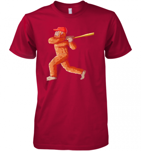 jslr bigfoot baseball sasquatch playing baseball player premium guys tee 5 front red