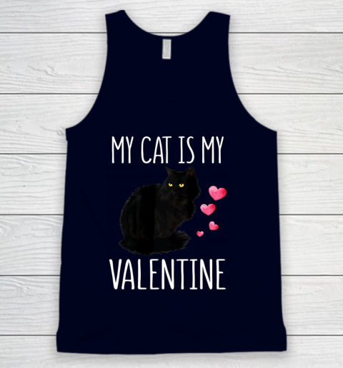 Black Cat Shirt For Valentine s Day My Cat Is My Valentine Tank Top 2