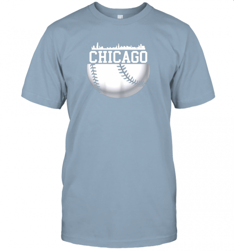 vluh vintage downtown chicago shirt baseball retro illinois state jersey t shirt 60 front light blue