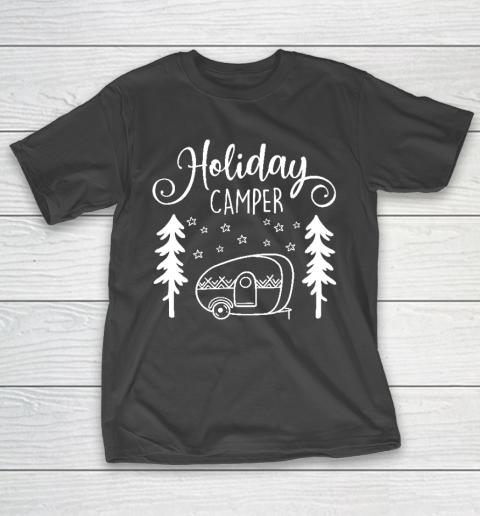Happy Camping Shirt Red Holiday Camper  Christmas Trailer T-Shirt