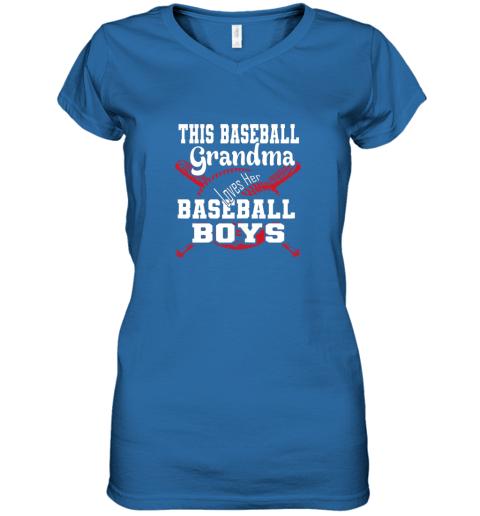 jpjj this baseball grandma loves her baseball boys women v neck t shirt 39 front royal