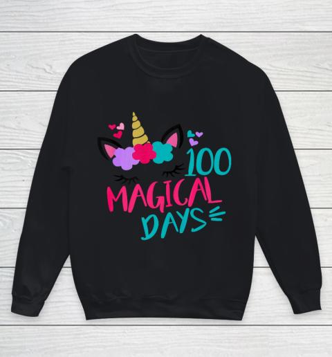 Kids 100 Magical Days Cute 100 Days of School Girls Unicorn Youth Sweatshirt