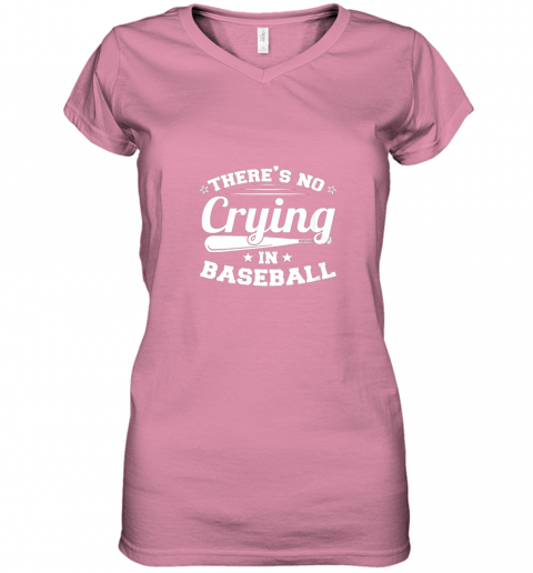 ozmn there39 s no crying in baseball gift women v neck t shirt 39 front azalea