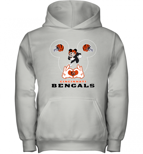 I Love The Bengals Mickey Mouse Cincinnati Bengals Youth Hoodie