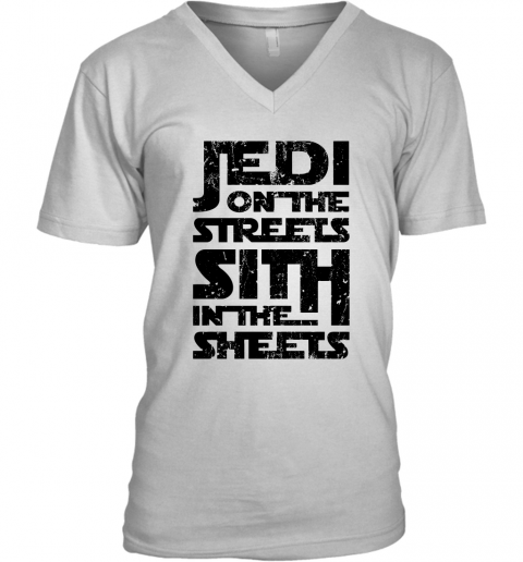 w1s7 jedi on the streets sith in the sheets star wars shirts v neck unisex 8 front white