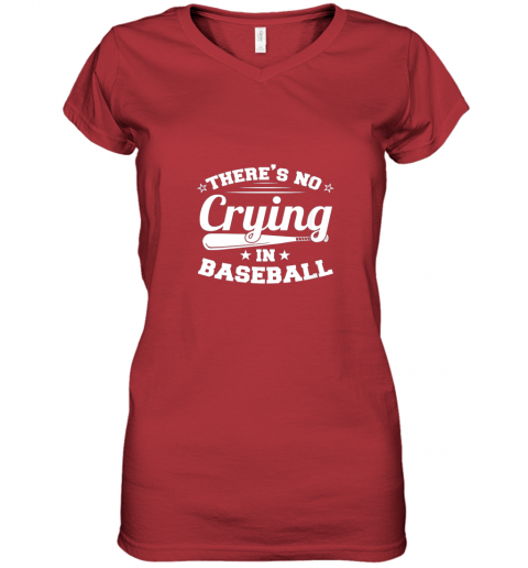 ozmn there39 s no crying in baseball gift women v neck t shirt 39 front red