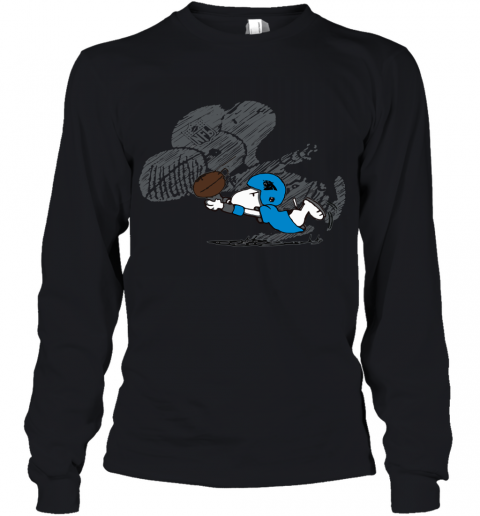 Carolina Panthers Snoopy Plays The Football Game Youth Long Sleeve