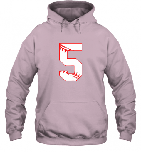 k8pz cute fifth birthday party 5th baseball shirt born 2014 hoodie 23 front light pink