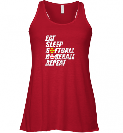 en8w softball baseball repeat shirt cool cute gift ball mom dad flowy tank 32 front red
