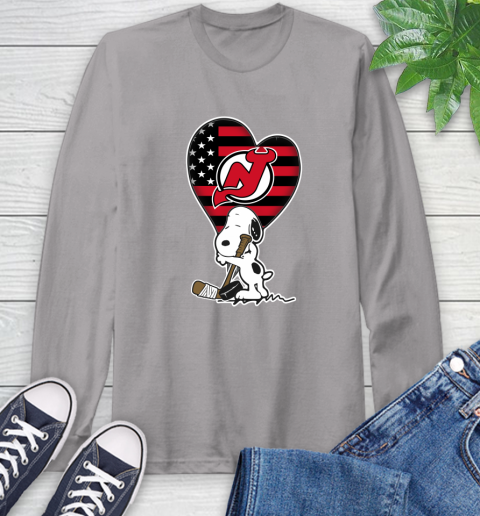 New Jersey Devils NHL Hockey The Peanuts Movie Adorable Snoopy Long Sleeve T-Shirt 6