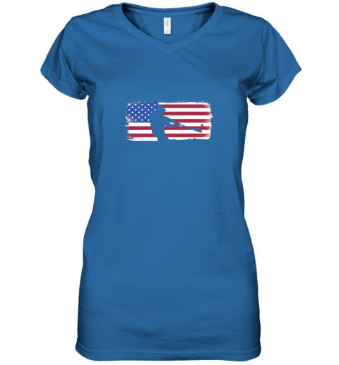 ysvs usa american flag baseball player perfect gift women v neck t shirt 39 front royal