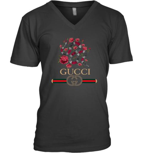 Gucci Logo Snake Mens V-Neck T-Shirt
