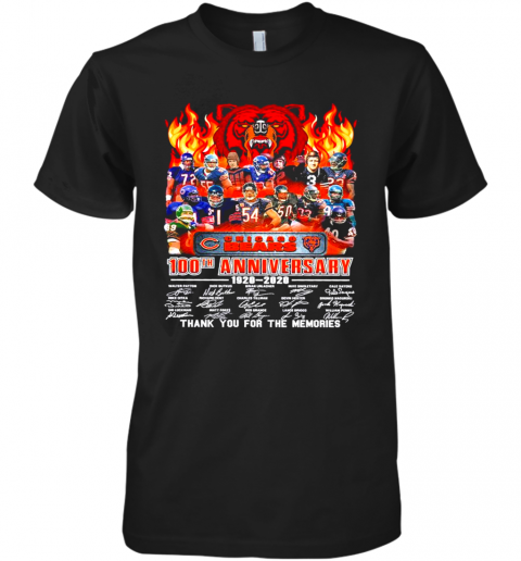 Chicago Bears 100Th Anniversary 1920 2020 Thank You For The Memories Signatures Premium Men's T-Shirt